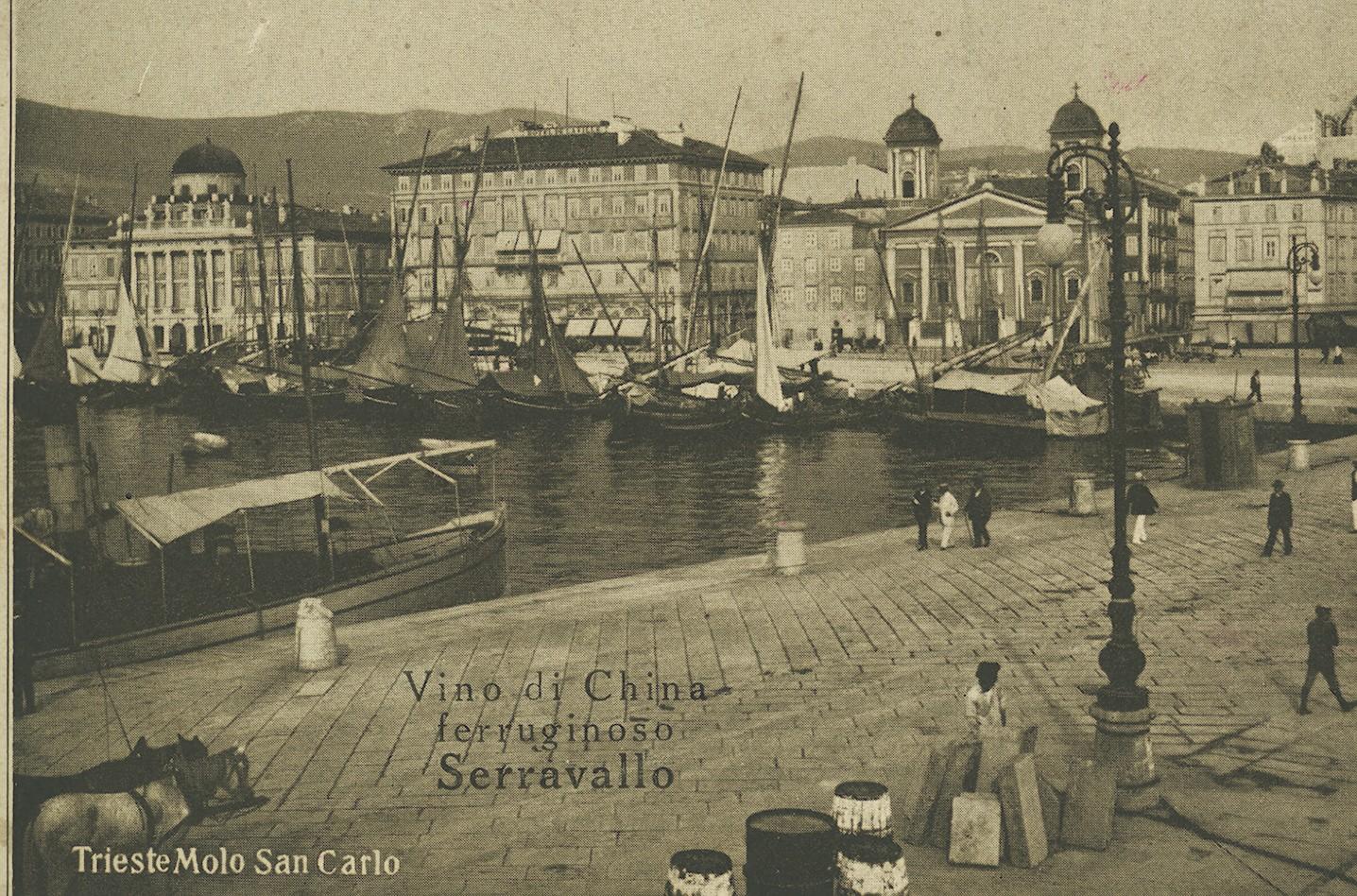 I lampioni del molo su basamento, 1910 ca.