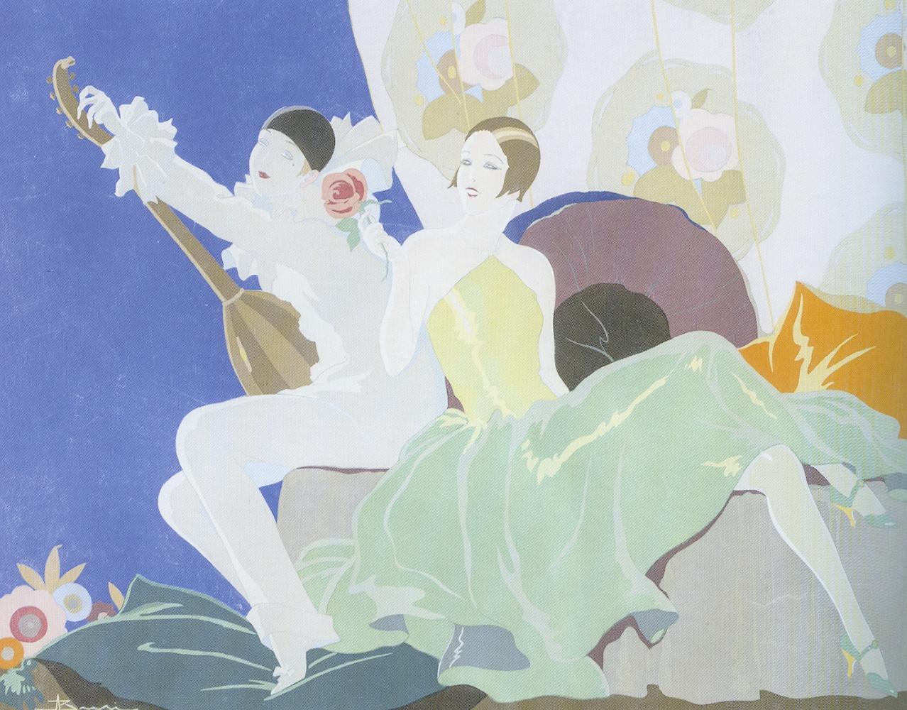 Adolfo Busi, Donna con Pierrot, pochoir su carta, 1926