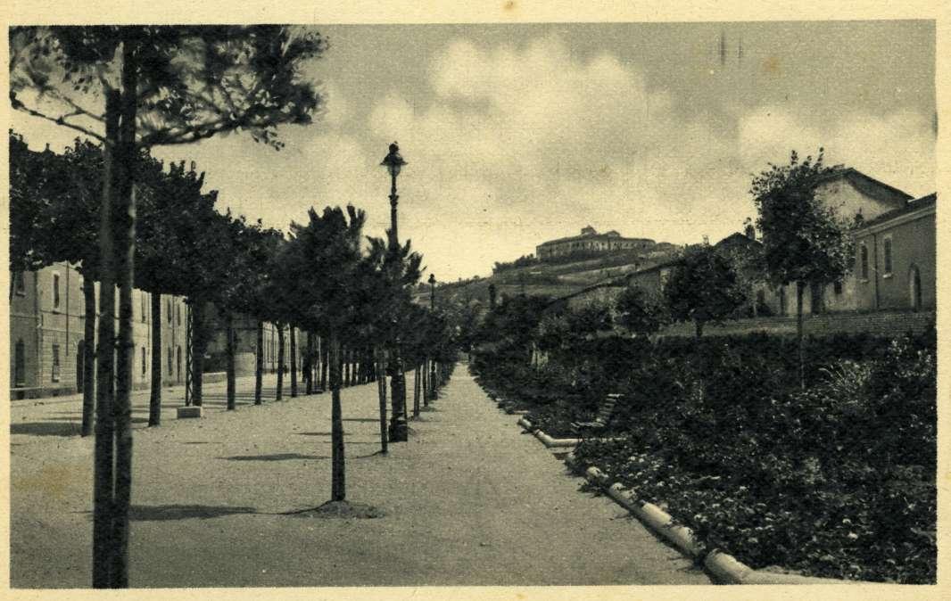 Viale Carducci in una cartolina di inizio '900; al centro si riconoscono due dei lampioni protagonisti dell'articolo
