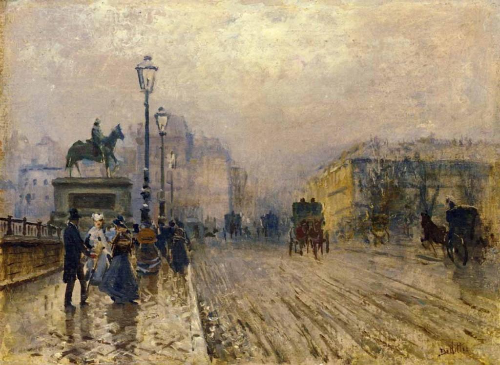 G. De Nittis, strada di Parigi con carrozze, 1875