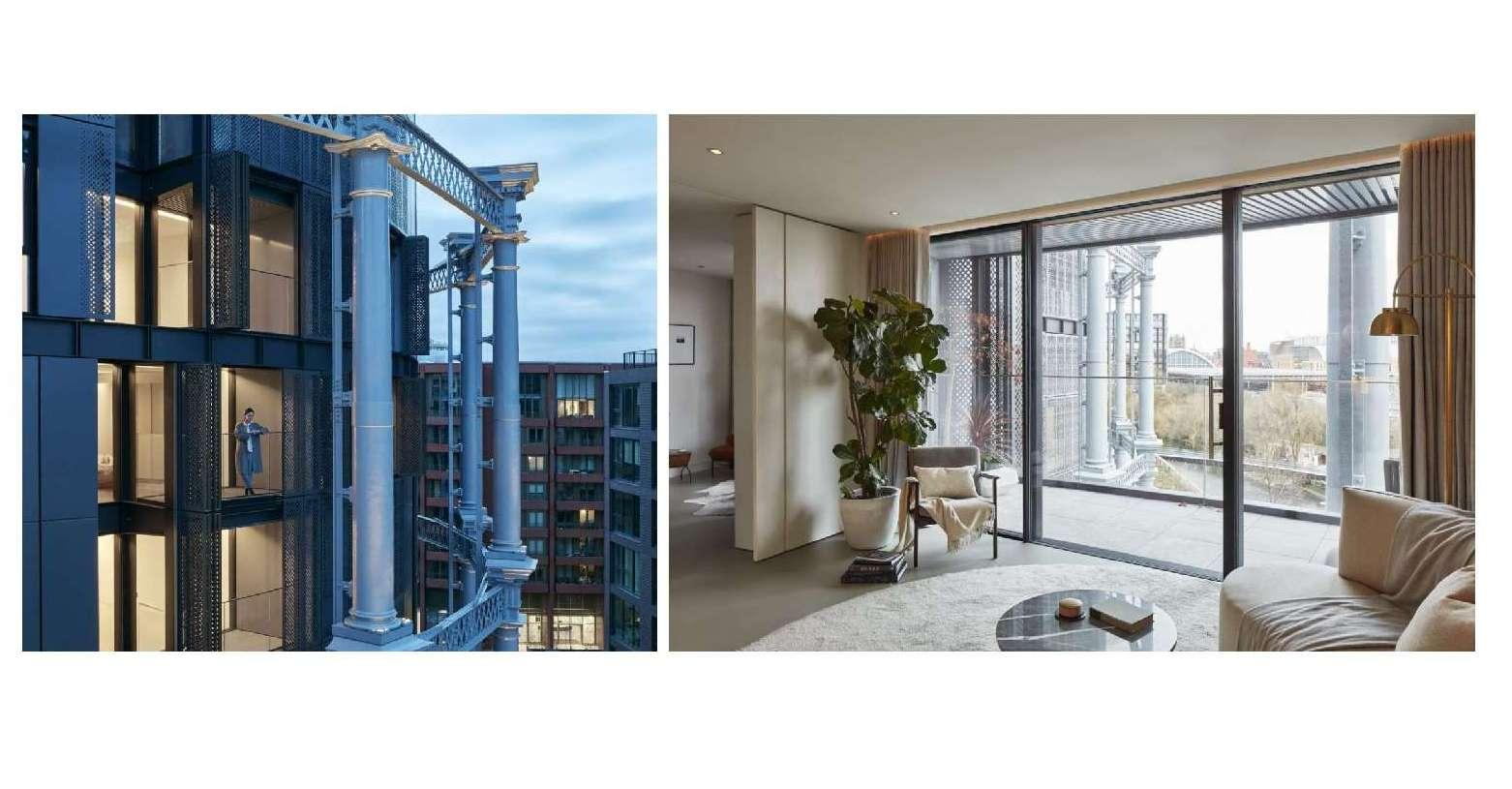 Esterno e interno. Gli appartamenti di lusso ricavati negli ex gasometri di King's Cross (photo by James Brittain)