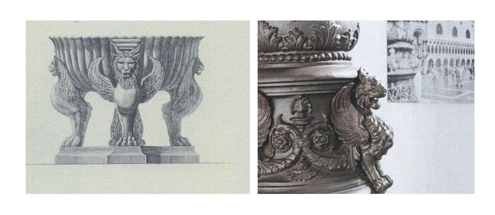 Incisione di Piranesi (sinistra) e particolare del basamento per un lampione esposto al MIG (destra)