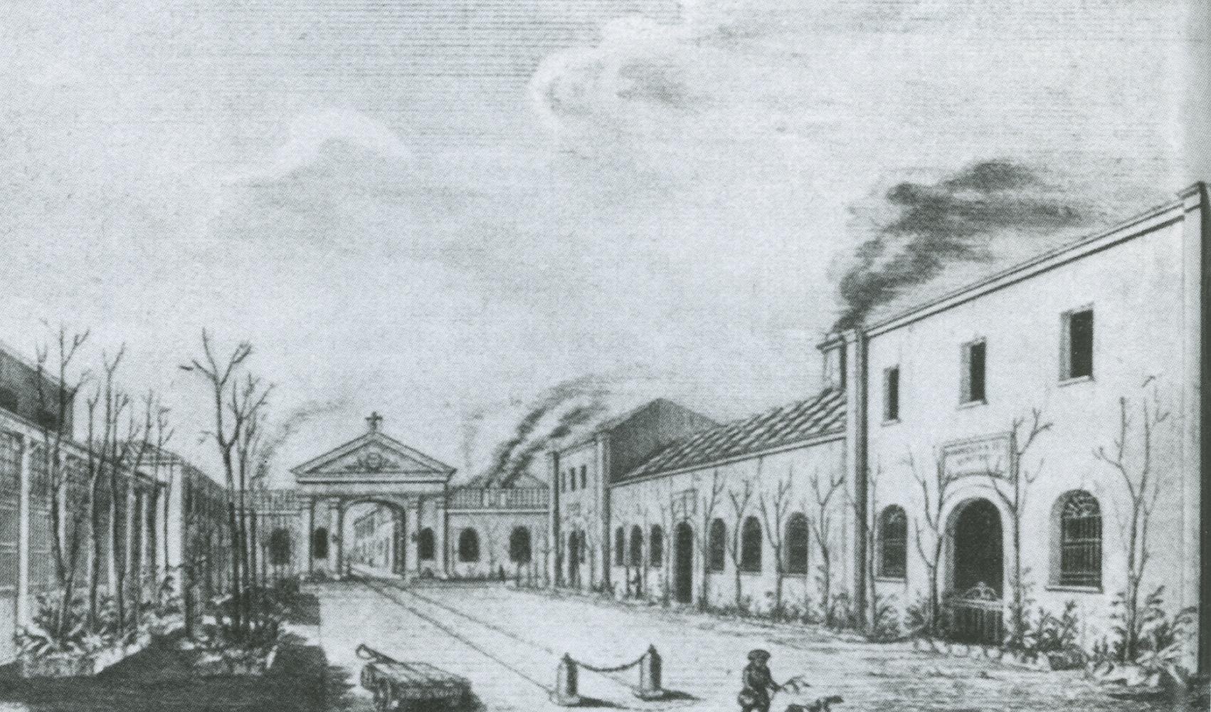 Pietrarsa, sala delle costruzioni (destra) e officina delle locomotive (sinistra)