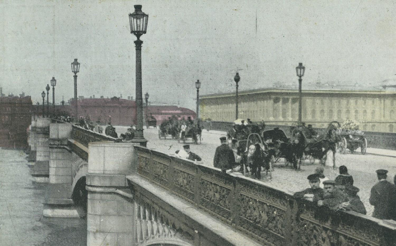 San Pietroburgo, illuminazione del ponte San Nicola, cartolina storica
