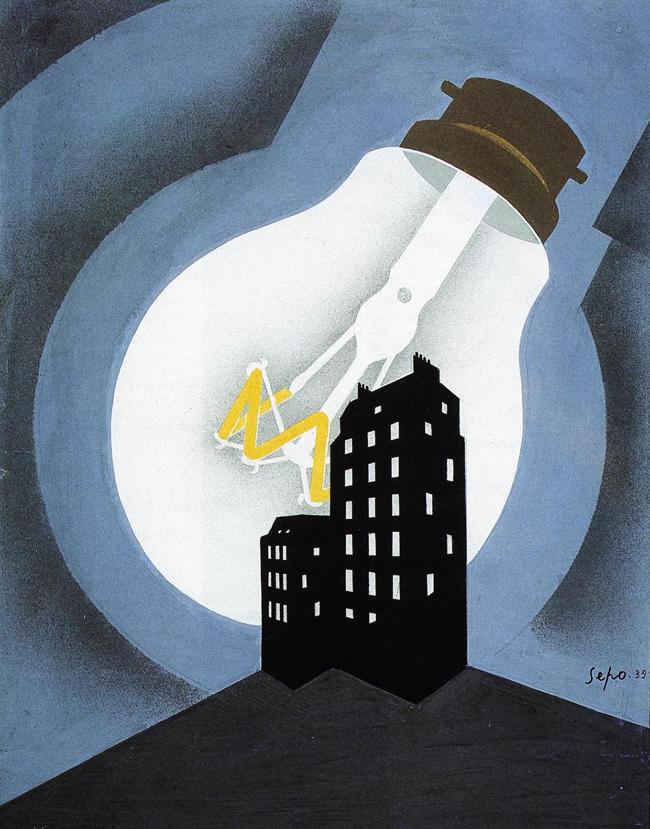 storia della lampadina : ... uno dei manifesti pi? belli nella storia della pubblicit? della luce
