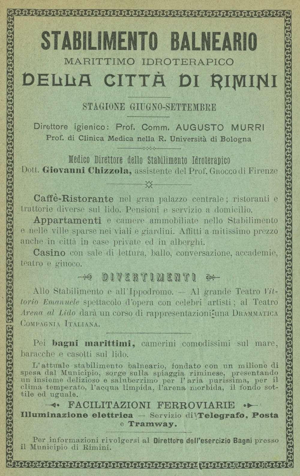 """Pagina pubblicitaria dello Stabilimento di Rimini nella guida del Carocci """"Bagni e villeggiature in Toscana"""" 1900"""