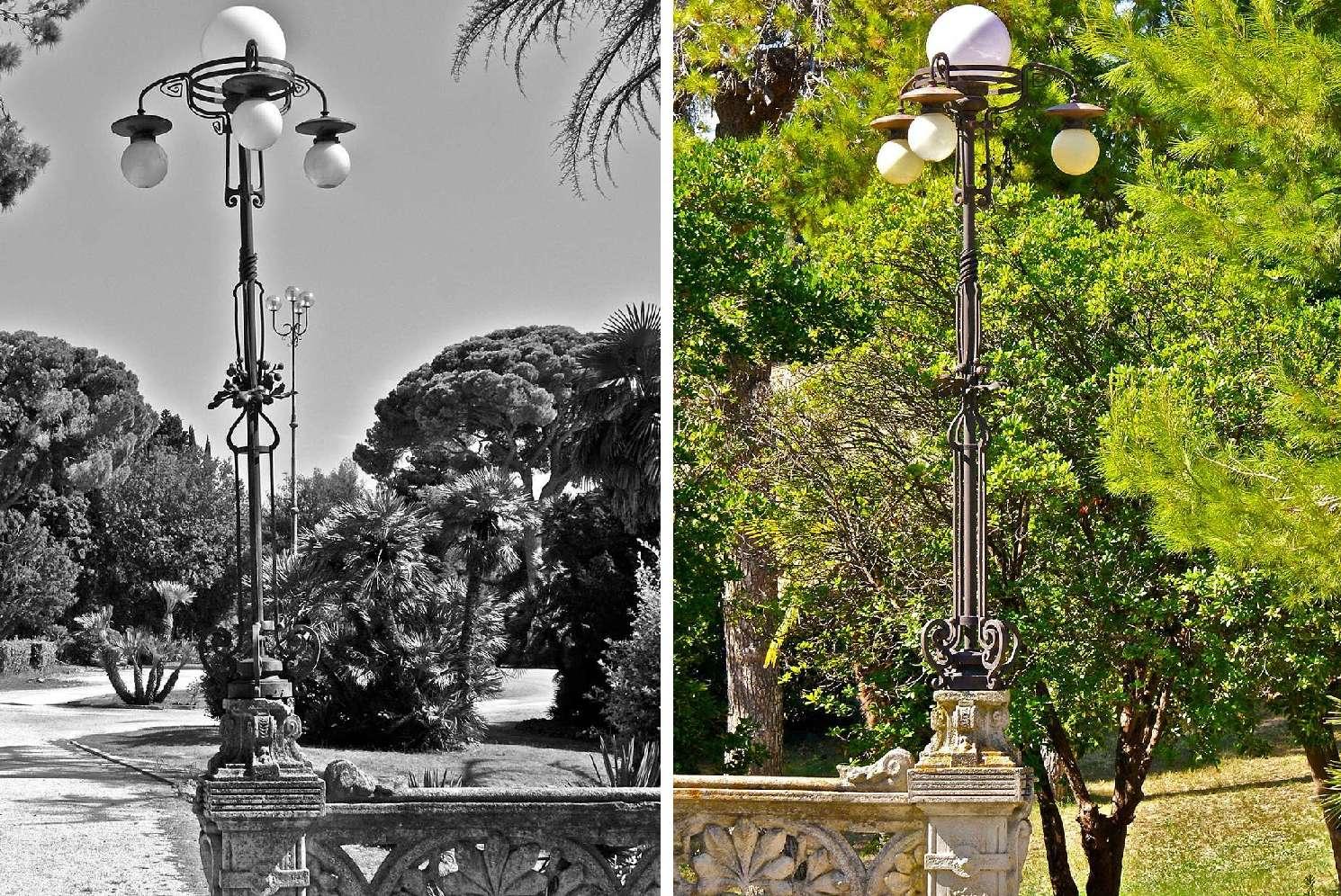 Candelabri Liberty nel giardino di Villa San Michele