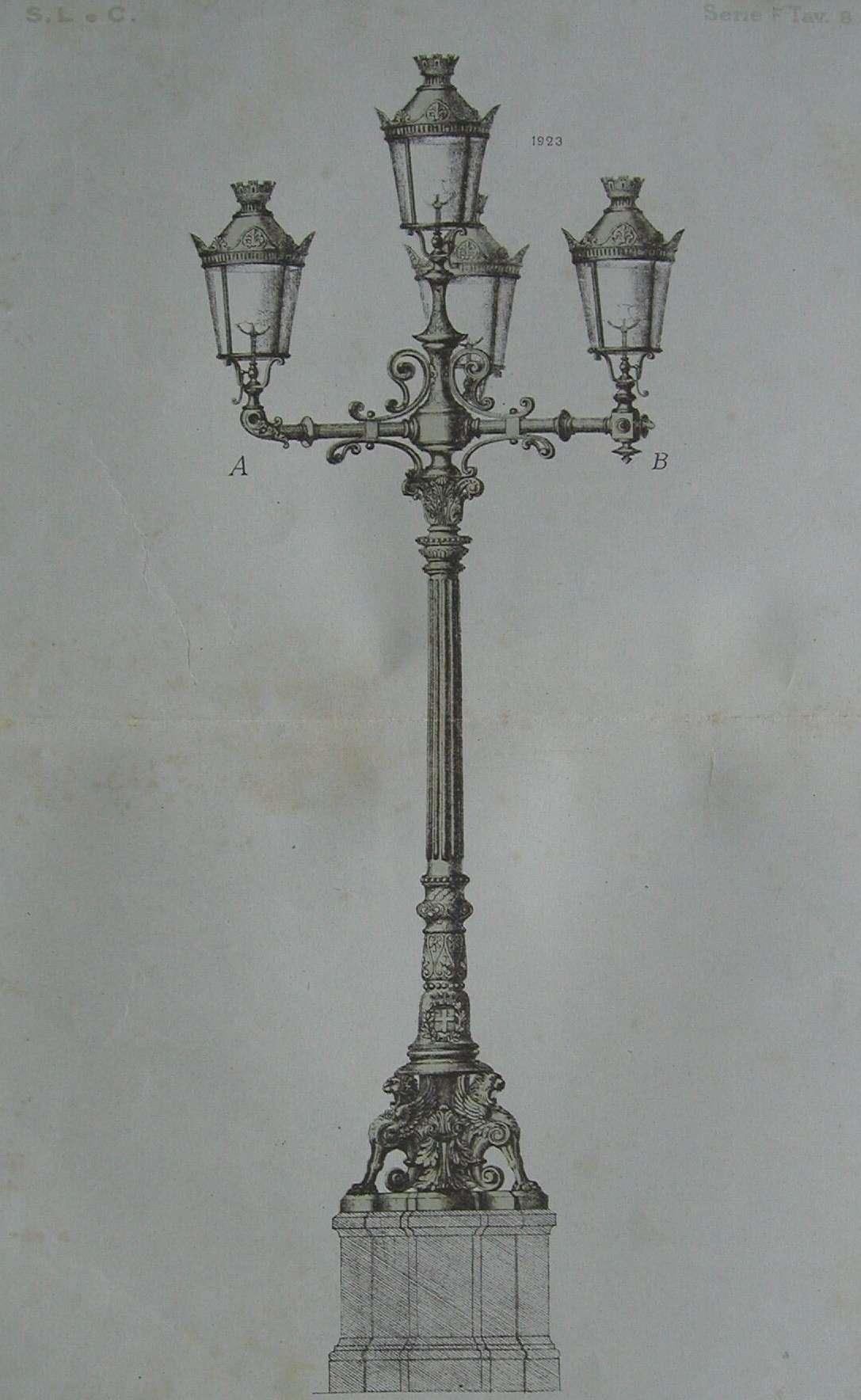 Disegno di uno dei quattro candelabri che illuminavano il cortile dell'Istituto Nazionale per le Figlie dei Militari di Torino
