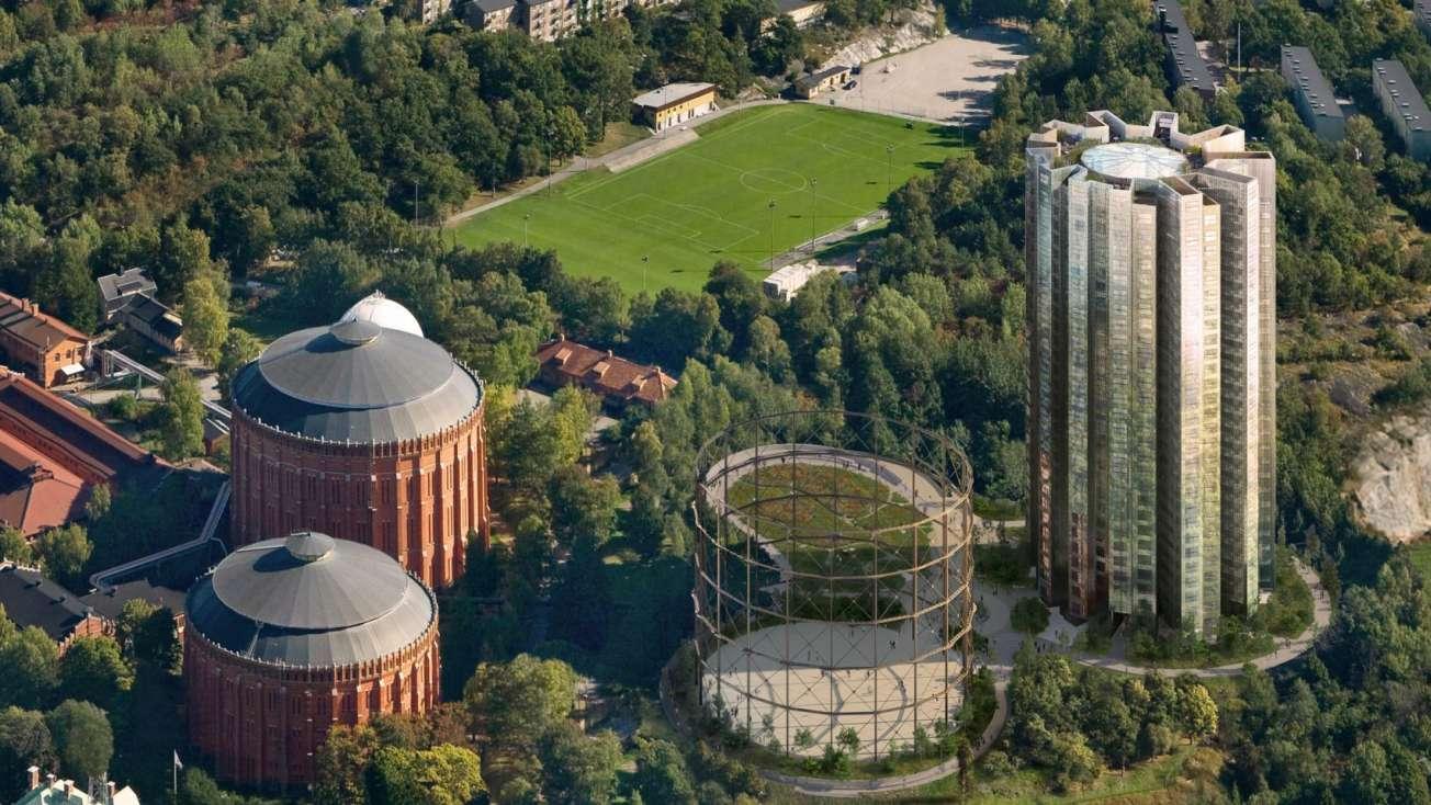 L'area dell'ex officina del gas di Stoccolma con i gasometri recuperati e la torre residenziale alta 90 m. (image courtesy of Herzog & de Meuron)