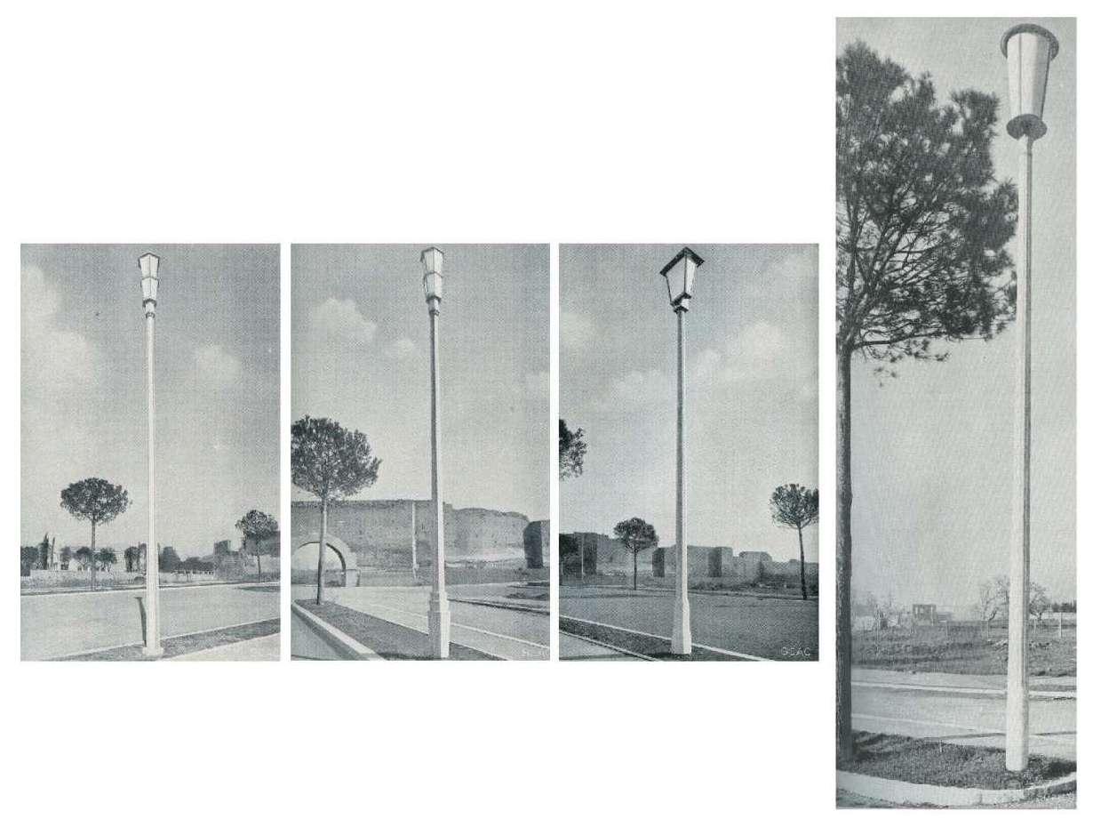 Pali SCAC proposti per l'illuminazione di via Imperiale. A destra la tipologia scelta, a sezione dodecagonale. Catalogo SCAC, 1942, Archivio Fondazione Neri