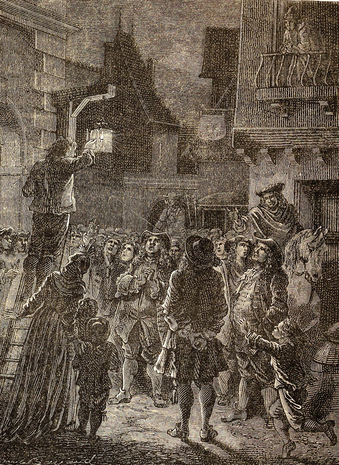Parigi, primi riverberi pubblici mediante l'utilizzo di lanterne contenti candele